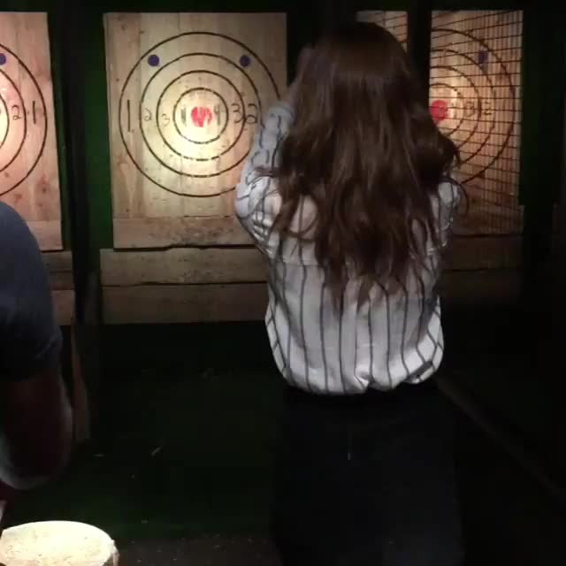 Watch and share Axe Throwing GIFs and Karen Gillan GIFs by supdog on Gfycat