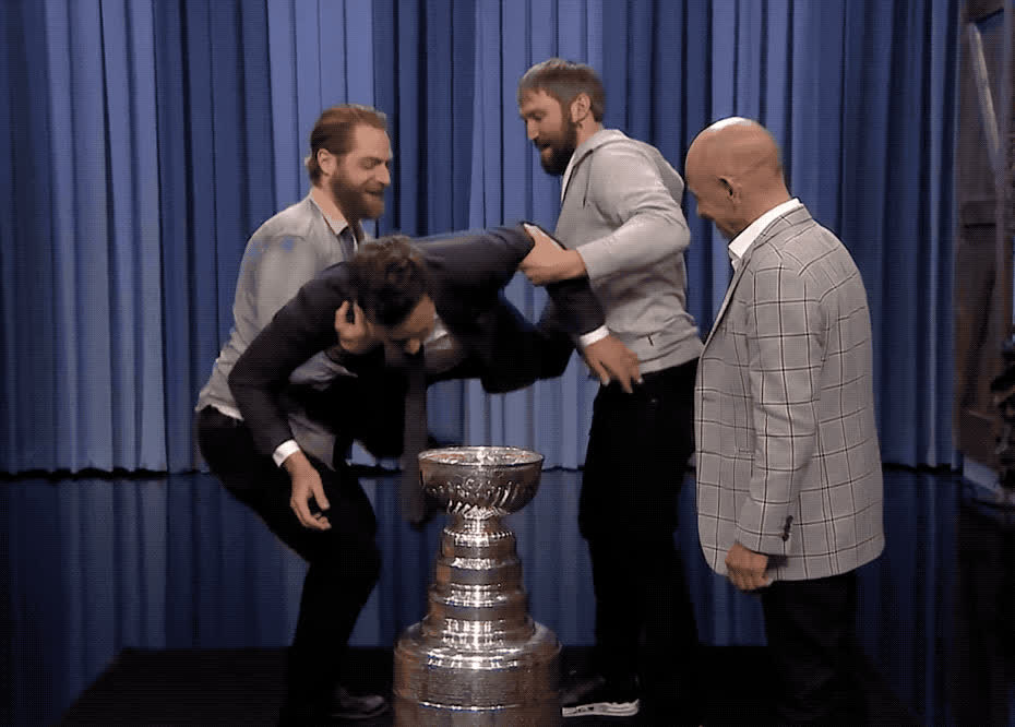 alex, braden, crown, cup, drink, fallon, funny, haha, hilarious, hotby, jimmy, jockey, lol, mike, ovenchkin, show, smith, stanley, tonight, triple, Alex Ovechkin, Braden Holtby, Triple Crown Jockey Mike Smith drink from Stanley cup GIFs