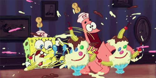 SpongeBob SquarePants, hungry, ice cream, patrick star, reactions, spongebob, spongebobsquarepants, [hungry] spongebob squarepants hungry  GIFs