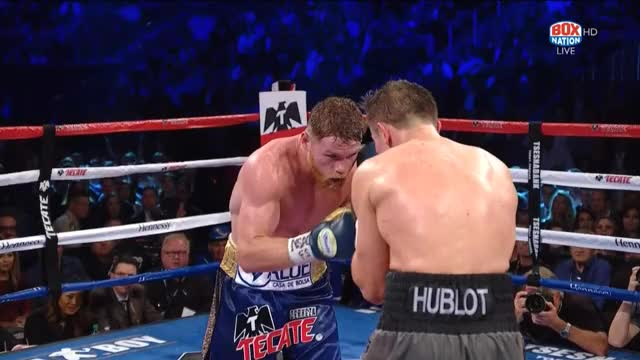 Watch Canelo lands a corking right hand, then effortlessly deflects Golovkin's counter (single angle) GIF by Tom_Cody (@tomcody) on Gfycat. Discover more Boxing, Canelo, Canelo Alvarez, GGG, Gennady Golovkin GIFs on Gfycat