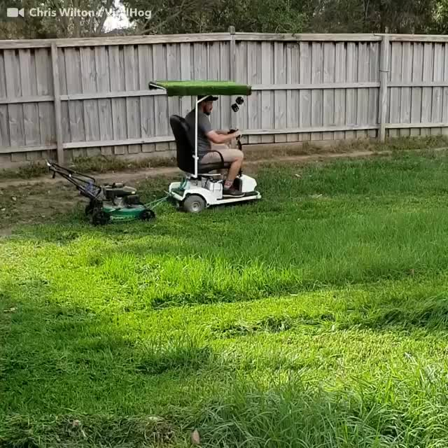 Watch and share It's The Fuzzy Dice That Really Complete This Lawnmowing Dad Hack. 😂Via: Vira... GIFs by kmeyer37 on Gfycat
