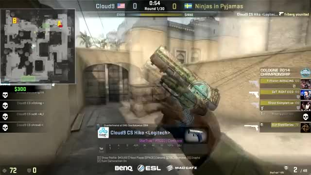 C9 Hiko's Insane Flickshot on NiP-GeT_RiGhT @ ESL One (reddit)