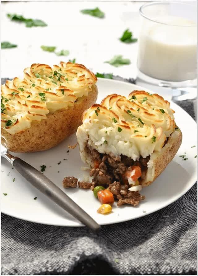 Watch and share 10. Shepherd's Pie Potato Skins   Image Via: Recipetineats GIFs on Gfycat