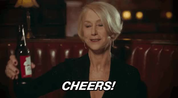 Watch and share Helen Mirren GIFs and Cheers GIFs on Gfycat