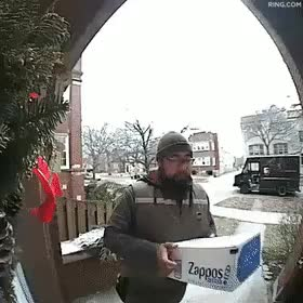 Delivery man gets a pleasant surprise - gif