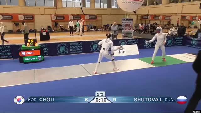 Watch CHOI I 7 GIF by Scott Dubinsky (@fencingdatabase) on Gfycat. Discover more gender: female, leftname: CHOI I, leftscore: 7, rightname: SHUTOVA L, rightscore: 10, time: 00010197, touch: double, tournament: barcelona2019, weapon: epee GIFs on Gfycat