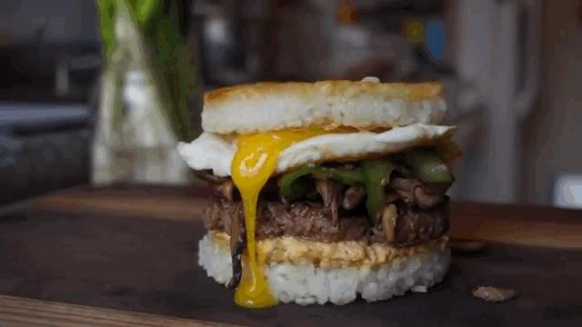 burger, cheeseburger, egg, food, Bibimbap Burger GIFs