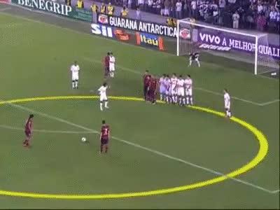 Watch and share Gol De Falta Do Ronaldinho (Por Baixo Da Barreira) Contra Santos 4 X Flamengo 5 GIFs on Gfycat