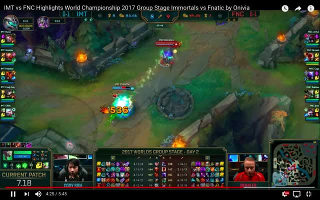 Fnatic vs Immortals | Rekkles Twitch Unlucky | #Worlds2017