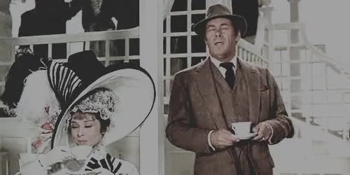 Watch distress level: henry higgins with a teacup on his head GIF on Gfycat. Discover more ahepburnedit, audrey hepburn, but oh well, henry higgins, i don't know what this coloring is, i finally giffed the thing, my fair lady, my gifs, or why the first one is aaaaaall the graaaaaaain, rex harrison, successsss, this is my favorite part of the movie oh my goodness, vintage GIFs on Gfycat