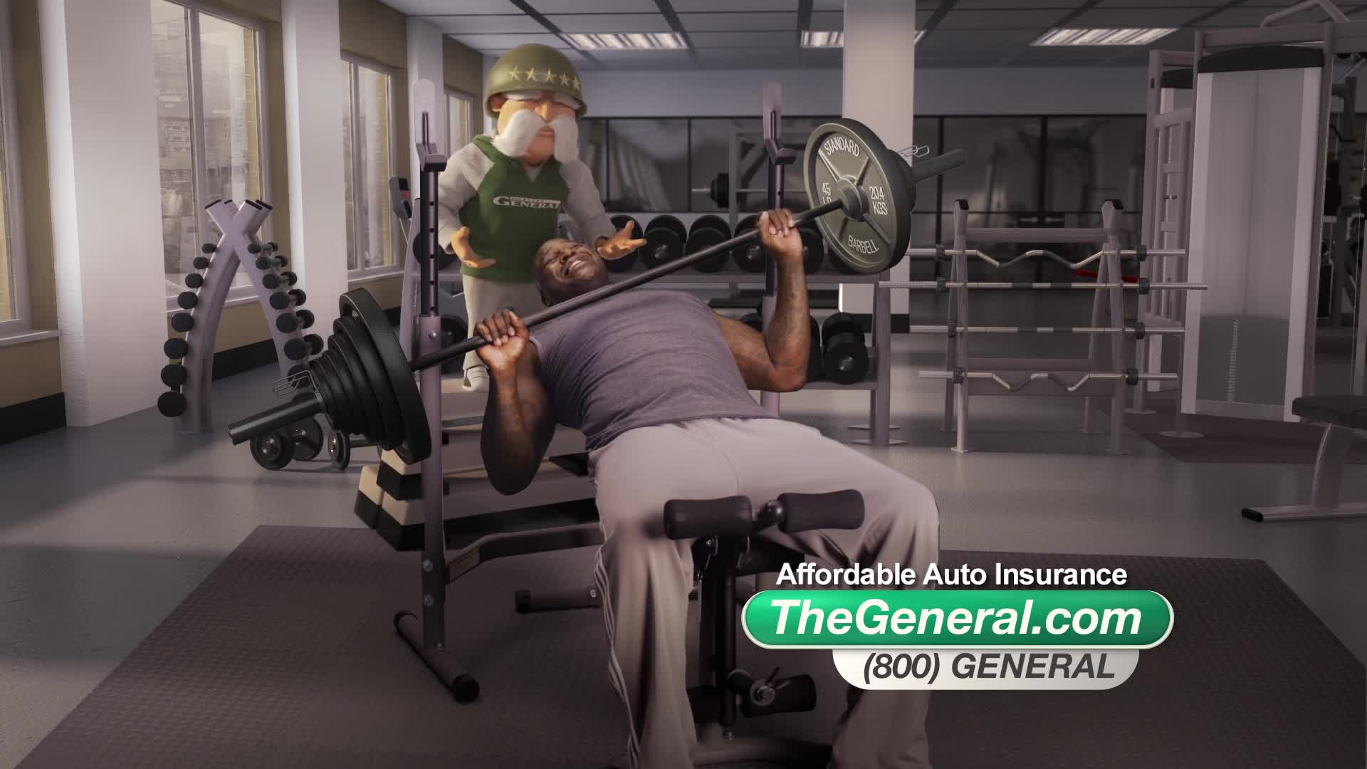 auto insurance, car insurance, funny commercial, shaq, shaq and the general, shaq the genearl, shaquille oneal, the general, the general insurance, Shaq - Weightlifting GIFs