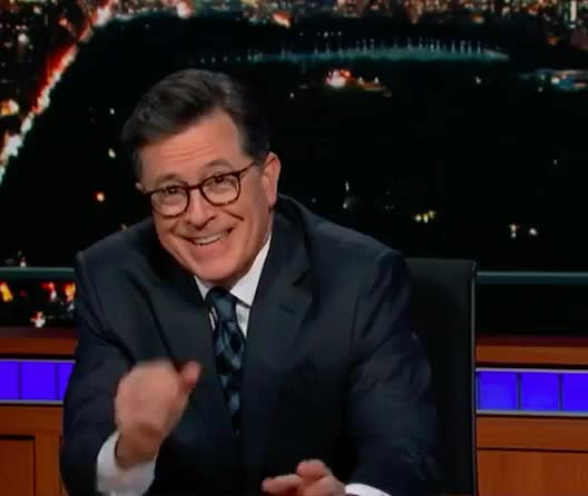 can't, colbert, cry, epic, funny, haha, hehe, hilarious, hold, joke, joking, laugh, laughing, lol, loud, night, out, show, stephen, stop, Stephen Colbert - LOL GIFs