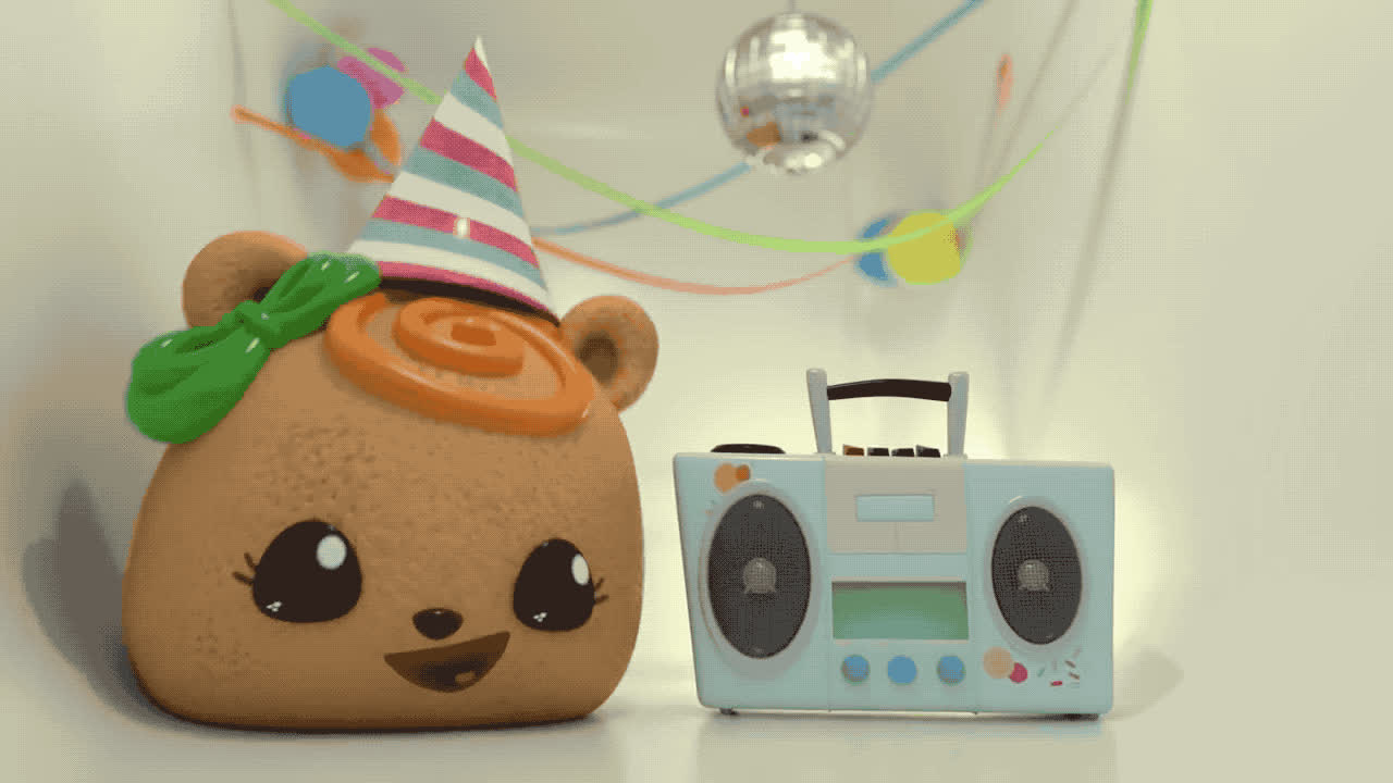 bday, birthday, celebrate, cute, excited, happy, happy birthday, hip, hooray, horn, music, noms, num, party, stereo, surprise, tada, woohoo, yay, yeah, Num Noms - Birthday party GIFs