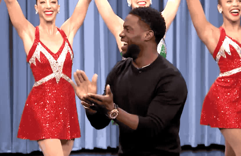 applause, bravo, entrance, epic, fallon, good, happy, hart, jimmy, job, kevin, kevin hart, rockettes, show, support, tonight, Kevin Hart - Applause GIFs