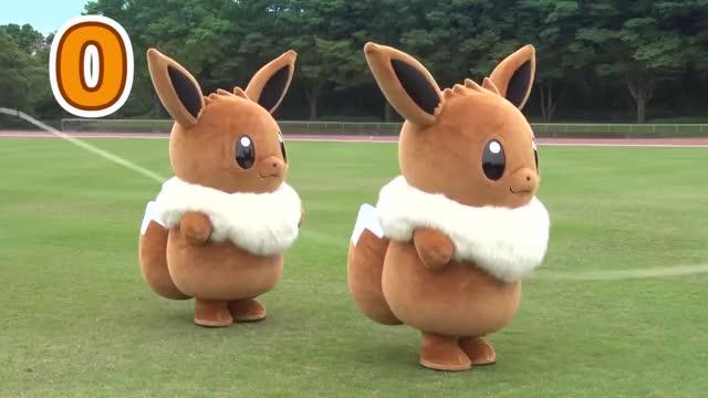 Pikachu vs Eevee (Live Sports) vs sports raichu pikachu mascot live funny cute cosplay battle GIF