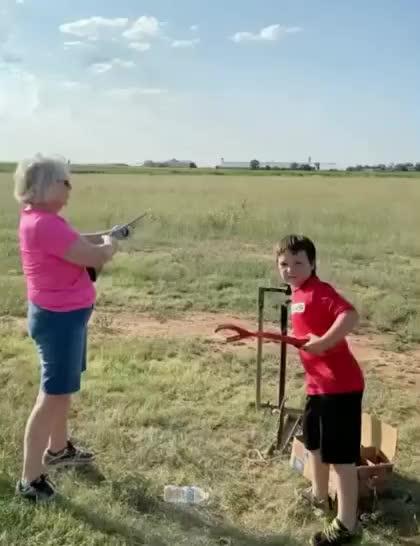 Watch and share Grandma Shooting Skeet GIFs by Boojibs on Gfycat