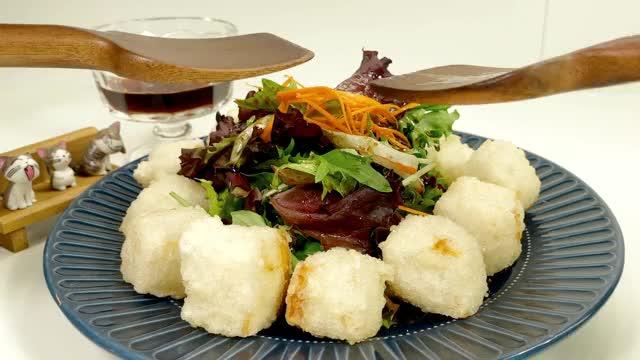 Watch and share Crispy Agedashi Tofu Salad :: Sushi Chef Recipe GIFs by cookin15min on Gfycat