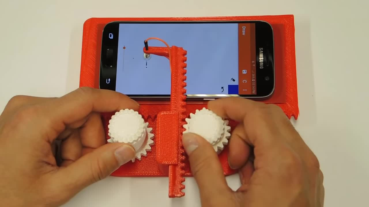 3d printed, 3d printing, Etch-A-Sketch, Potent Printables, cell phone sketcher, cellphone sketcher, design, etch a sketch, mechanisms, old and new, 3D Printed Etch A Sketch for your phone GIFs