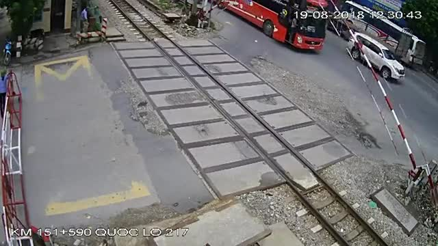 Watch and share Bus Crashes Into Railroad Gate And Nearly Impales Passengers GIFs on Gfycat