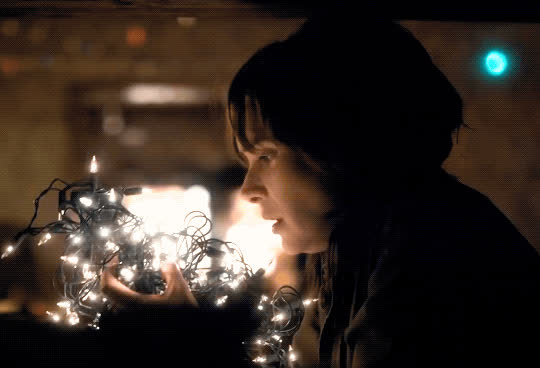 amazed, christmas, christmas decorations, christmas lights, excited, joyce byers, lights, omg, stranger things, twinkle lights, winona ryder, yay, Joyce Byers Christmas Lights - Stranger Things GIFs