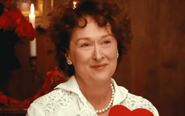 Watch this awww GIF by ioanna on Gfycat. Discover more I love you, aw, aww, awww, blush, cute, day, embarrassed, heart, julia, julie, love, meryl, streep, valentine, valentine's, you GIFs on Gfycat