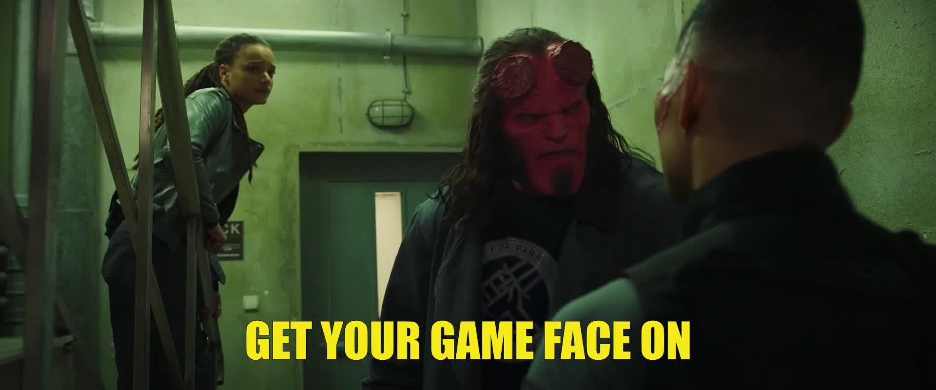 daniel dae kim, dark horse, dark horse comics, david harbour, fight, hellboy, hellboy 2019, hellboy movie, lets go, punch, ready, superhero, superheroes, Hellboy Game Face Punch GIFs