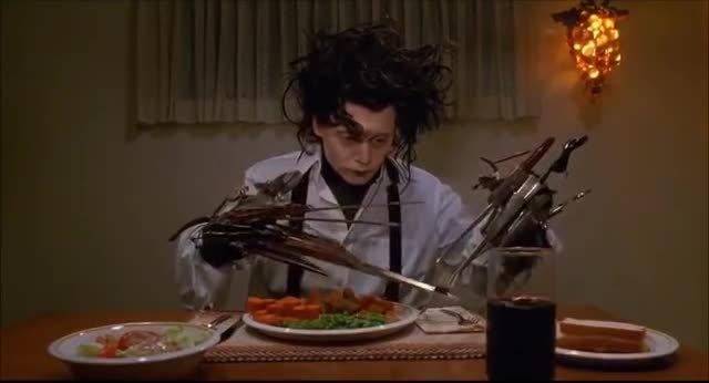 dinner, johnny depp, dinner scene GIFs