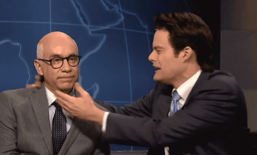 I love you, anderson, armisen, bill, cold, cooper, fred, hader, house, kiss, kisses, live, love, night, open, saturday, snl, turmoil, white, Anderson Cooper - White house turmoil cold open GIFs