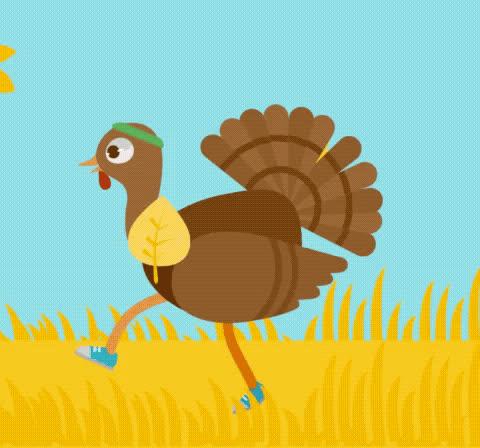 autumn, fall, happy thanksgiving, leannimator, leaves, run away, running, thanksgiving, turkey, Turkey Running GIFs