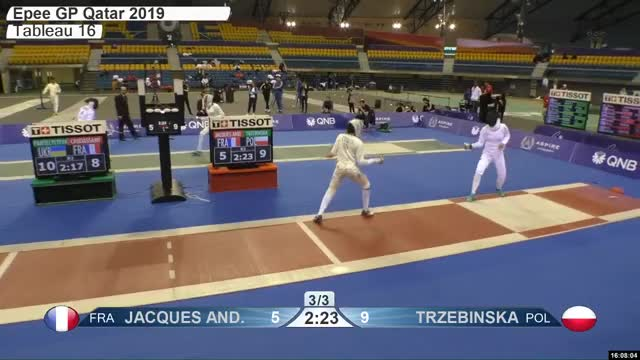 Watch JACQUES ANE 5 GIF by Scott Dubinsky (@fencingdatabase) on Gfycat. Discover more gender:, leftname: JACQUES ANE, leftscore: 5, rightname: TRZEBINSKA, rightscore: 10, time: 00027749, touch: right, tournament: doha2019, weapon: epee GIFs on Gfycat