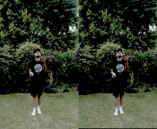 juggling, synchronization, Juggling missynchronized crossview GIFs