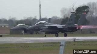 aviationgifs, F-15 Strike Eagle blowout during takeoff [x-post /r/aviationgifs] (cdn.makeagif.com) GIFs