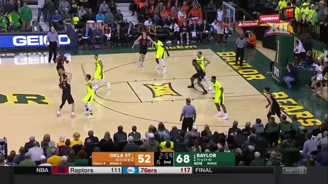 Watch and share Oklahoma State At Baylor Men's Basketball Highlights GIFs by Pistols Firing on Gfycat