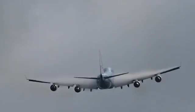 Watch and share Cloud Busting Plane And Vortices, B747 By KLM GIFs on Gfycat