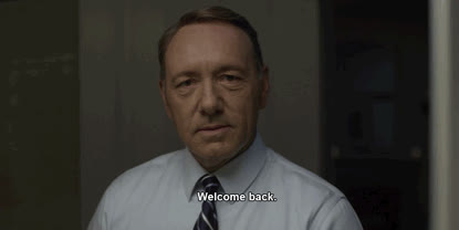 Kevin Spacey, welcome, welcome back, welcome home, Welcome Back GIFs