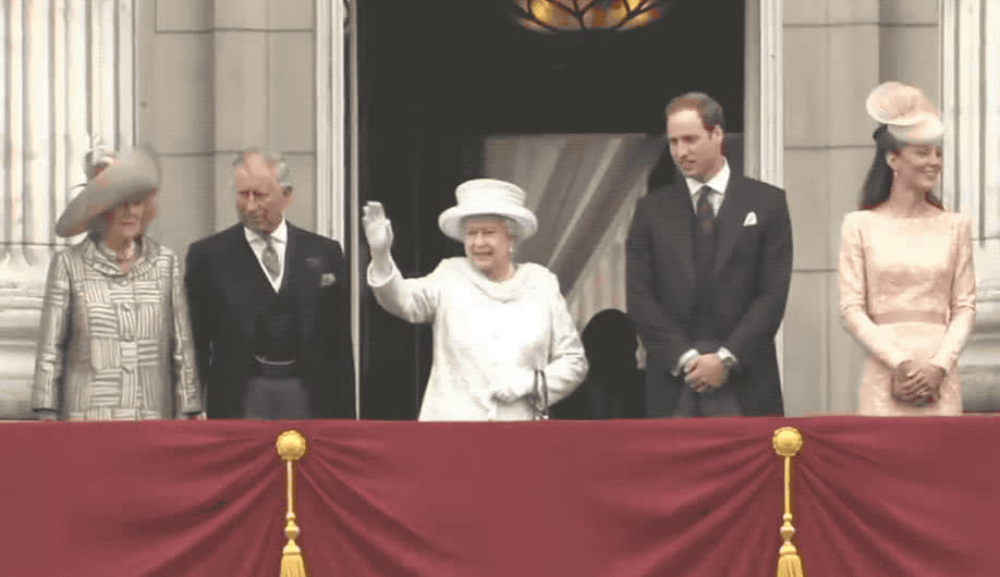 adios, balcony, bye, ciao, elizabeth, family, formal, goodbye, hat, hello, hey, hi, queen, royal, royalty, smile, stand, wait, wave, waving, Queen Elizabeth - Waving GIFs