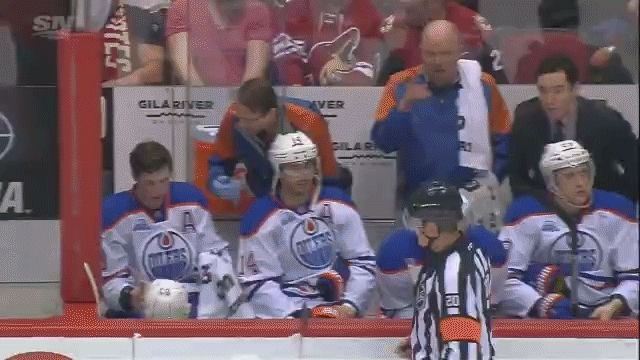 edmontonoilers, hockey, Nuge on the bench, took a puck in the eye GIFs