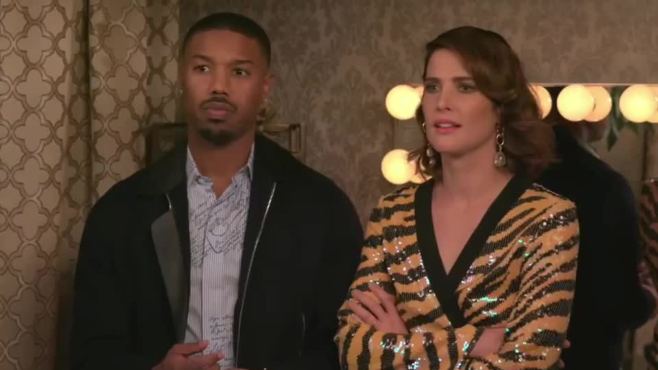 a, b, cobie, confused, fallon, fuck, hmm, jimmy, jordan, michael, minute, show, smulders, text, thanos, the, tonight, wait, what, wtf, Michael B. Jordan and Cobie Smulders Text Thanos GIFs