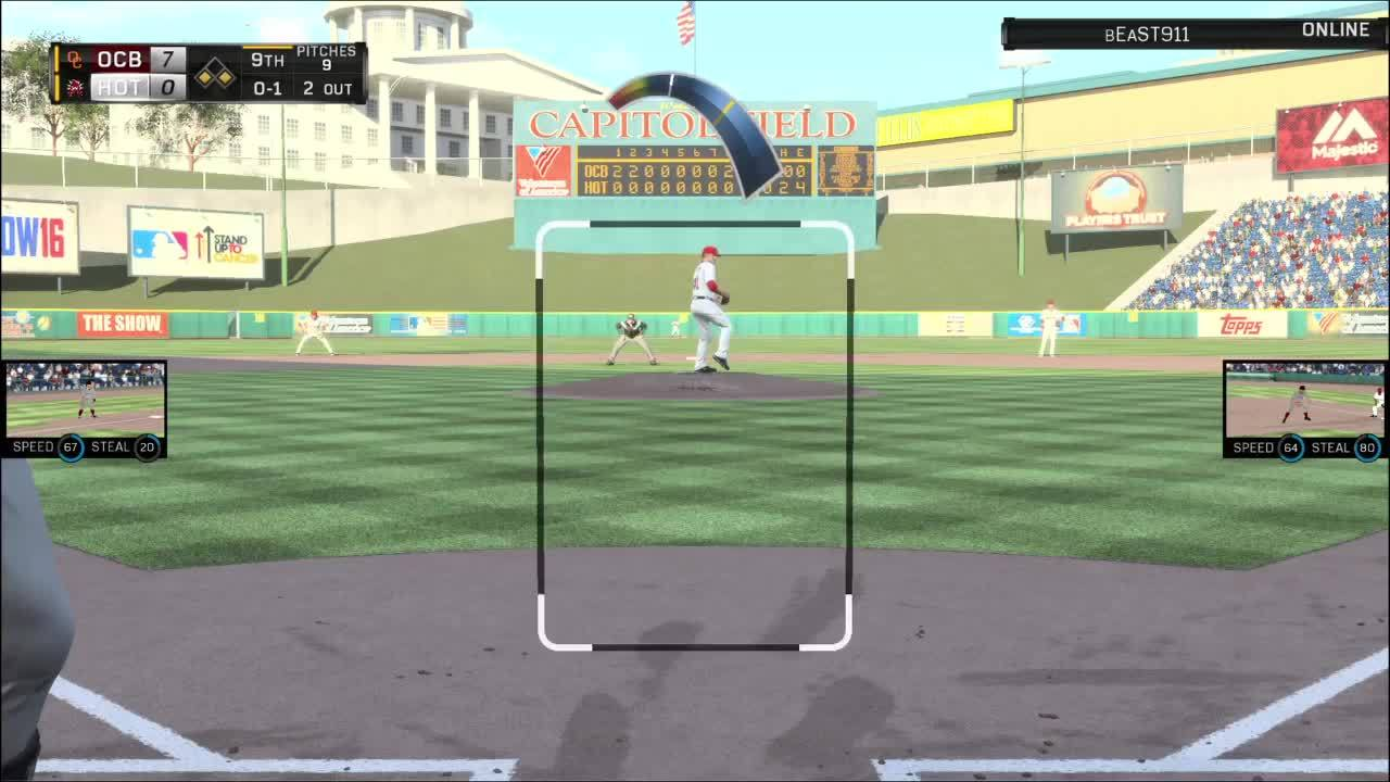 mlbtheshow, Baserunner runs through tag during pickle GIFs