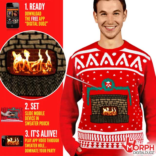 Watch and share Crackling Fireplace Knit Ugly Christmas Sweater Digital Us GIFs on Gfycat
