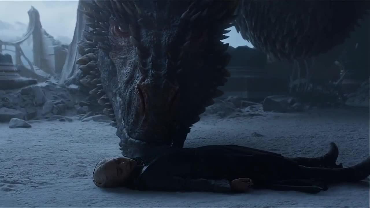 daenerys targaryen, dragon, drogon, game of thrones, mourn, season 8, Game of Thrones Drogon Mourns Daenerys GIFs