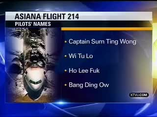 "Watch and share News Station Reports Asiana Flight 214 Pilots Names: ""Sum Ting Wong,"" ""Ho Lee Fuk"" GIFs on Gfycat"