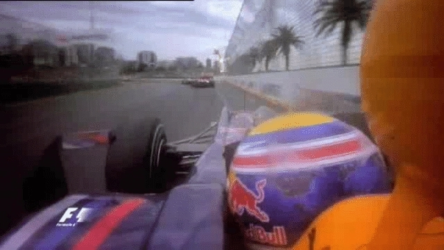 formula1gifs, Alonso,Hamilton&Webber Australian GP 2010(SV retired,JB changeable weather win,LH pit from 3rd when others did a one stopper(MW also pit),LH was pissed and blamed the team for ruining his race. He sized a re-overtake on FA for 4th when MW dive bombed him off track.) (reddit) GIFs