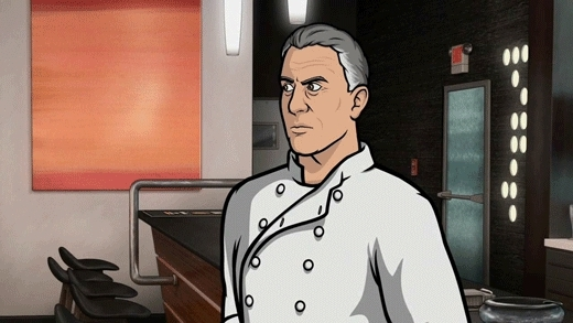 archerfx, watching the 'Anthony Bourdain' Archer episode with subtitles. Cyril drops a mixing bowl and this was the subtitle.... (reddit) GIFs