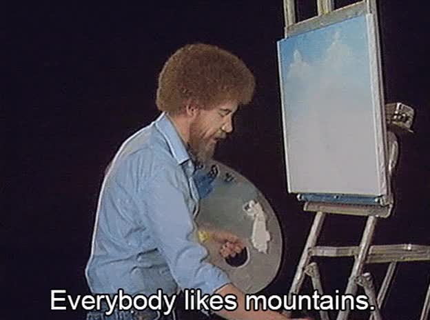 Watch and share Mountains GIFs and Bob Ross GIFs on Gfycat