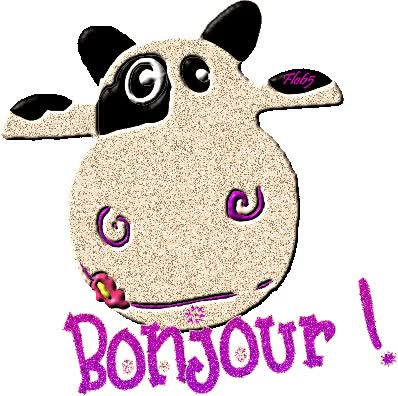 Watch and share Bonjour - Vache - Tête - Gif Scintillant animated stickers on Gfycat