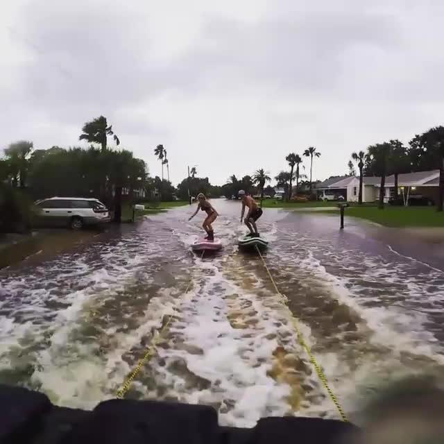 InterestingGifs, gifs, Paddleboarding Hurricane Hermine GIFs