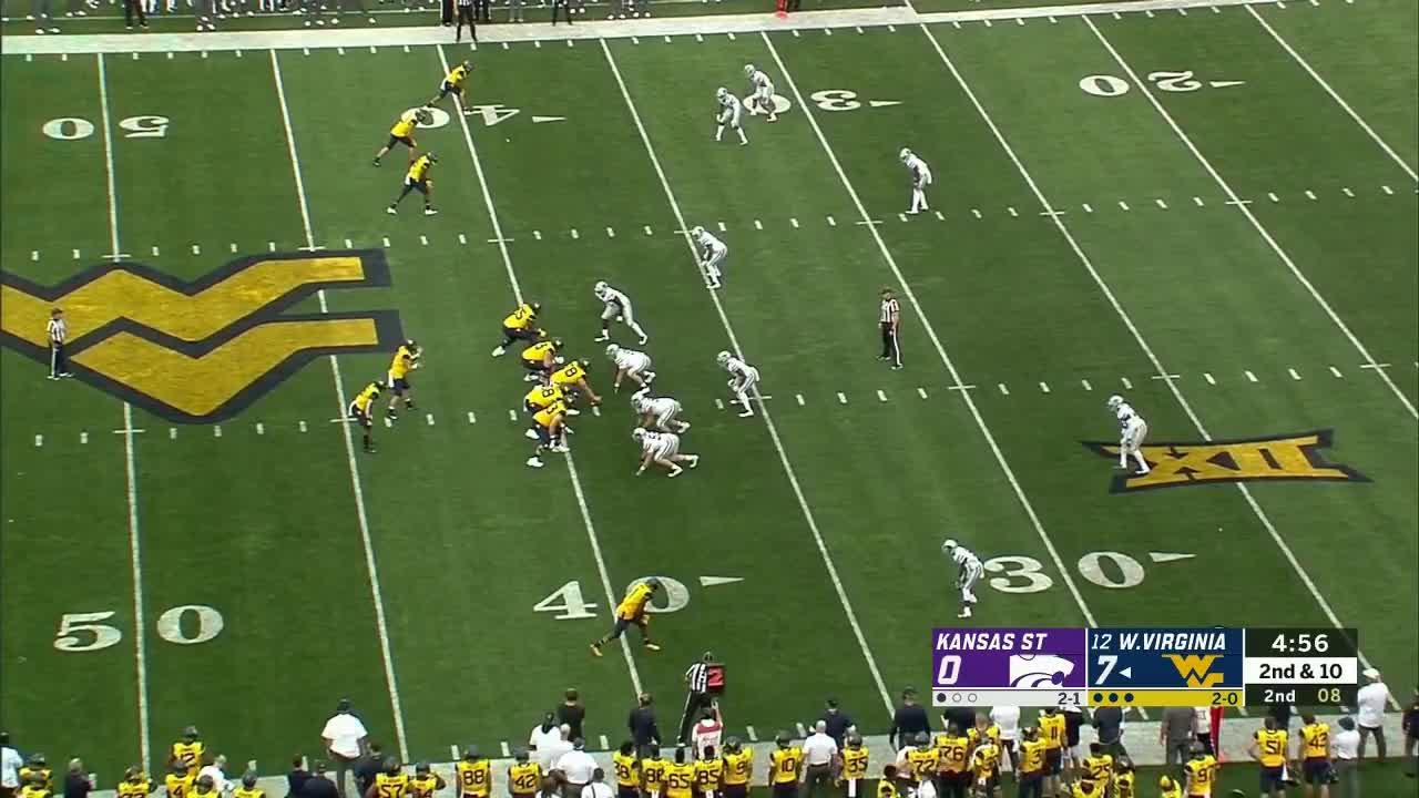KStatefb, WVU, WVUfb, football, WVU draw play thru gaping hole vs K-State defense GIFs