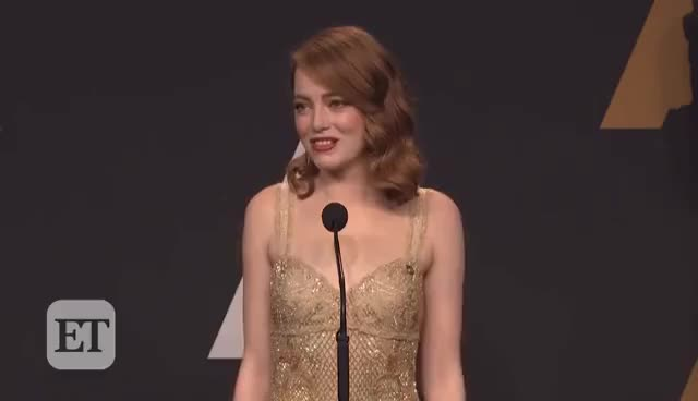 Watch Emma Stone Reacts to Best Picture Mistake Between 'La La Land' & 'Moonlight' Backstage at the Oscars GIF on Gfycat. Discover more related GIFs on Gfycat