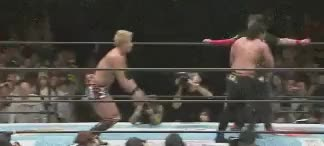 Watch and share Okada Has The Best Dropkick In The Business • R/SquaredCircle GIFs on Gfycat
